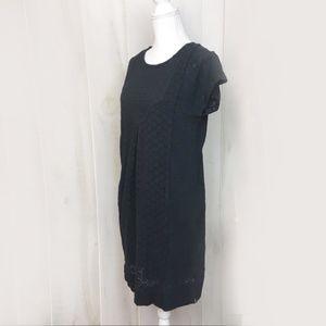 Eliot Black Short Sleeve Cotton Eyelet Dress